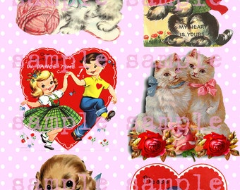 SALE Instant Digital Download Printable > Retro Valentine Clip Art > Children Cats Kittens Puppies Collage Sheet