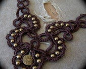 Custom Tatted Lace Necklace - Trailing Scrolls - Burgundy and Copper