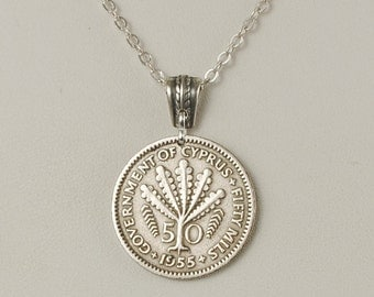 Cyprus Coin Jewelry Necklace 1955