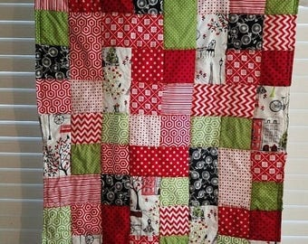 Moving Sale Spring time in Paris Red Baby Quilt - lime green, red, white, black 305