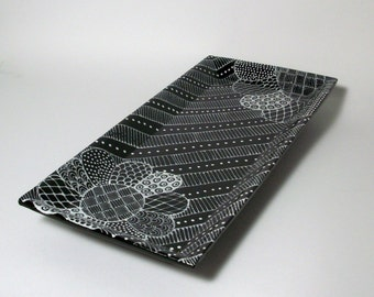 Ceramic Tray - Black and White Flower Doodle Design Tray - Coin Tray