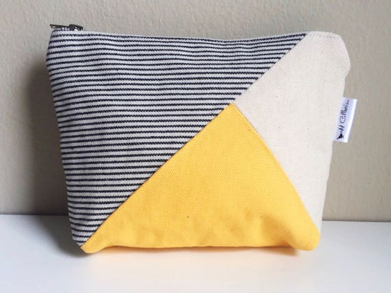 Canvas Zipper Pouch, Zipper Pouch, Womens Canvas Bag, Canvas Cosmetic Bag, Canvas Makeup Bag, Striped Bag