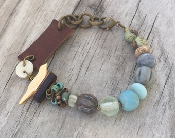 EARTHEN BIRD Bracelet with RECYCLED Leather Belt, Vintage beads, Gemstones and Antique Brass; Adjustable Length Boho Tribal Hippie ooak