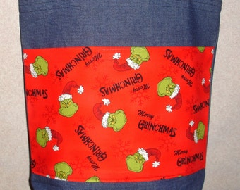 New Large Denim Tote Bag Handmade with Grinch Merry Grinchmas Christmas Fabric