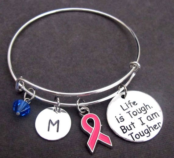 Breast Cancer Awareness Bangle Bracelet,Breast Cancer Survivor Jewelry,Life is tough but I am tougher, Pink Ribbon Bangle, Free Shipping USA