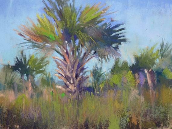 Florida painting PALM TREES ART Original Pastel Painting 6x8