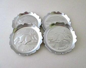 Set of 4 Beaver Vintage Aluminum Coasters - Canada Souvenir Coasters - Vintage Barware Drinkware