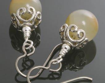 CLEARANCE. Light Green Agate Earrings. Titanium Ear Wires. Genuine Agate. Filigree Earrings. Gemstone Earrings. f12e015