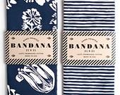 Set of 2 Navy Bandanas, Hand Screen Printed and Soft