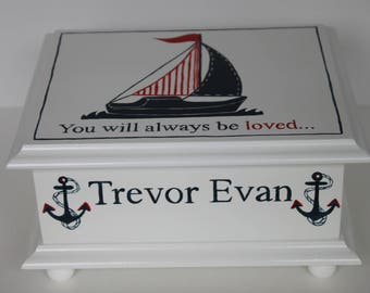 Baby keepsake box baby memory box for boy watercolor clipper baby keepsake box baby memory box for boy nautical sailboat hand painted personalized baby gift negle Images