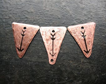 Arrow Stamped Triangle Charm Set in Antiqued Copper - 3 pieces - 18 and 20mm