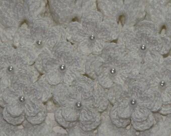 Two Layered Crochet Flowers Applique Embellishment Trim - WHITE - 10 Pcs