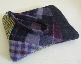Purple Patchwork Wool Clutch Wristlet Bag with card slots
