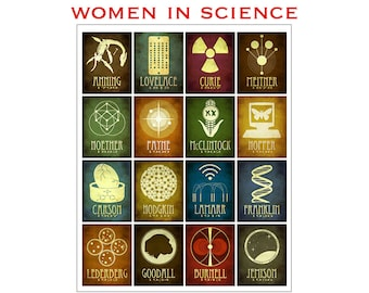 Women In Science Print 11x14 Mosaic, Women Scientists Poster, Female STEM Rock Stars Print, Inspirational Artwork, Historical Illustration