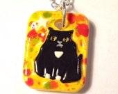 Tuxedo Cat Ceramic Unique Art Pendant
