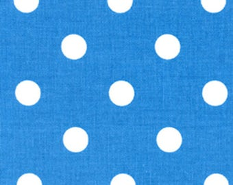 "LAST PIECE - One Piece 26"" Long by 54"" Wide Premier Prints Polka Dot Paris Blue White Home Decorating Fabric"
