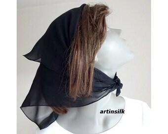 Black Small Scarf Head Kerchief, Hair Ponytail Scarf, Neck Scarf, Black Hair Scarf, Aqua 100% Silk Sheer headband, Artinsilk