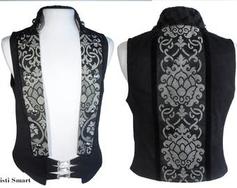 Black and gray steampunk captains vest
