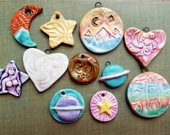 Handmade Pendants Mix Celestial Moon Stars Saturn Hearts Green Turquoise  Going Out of business De-stash Sale