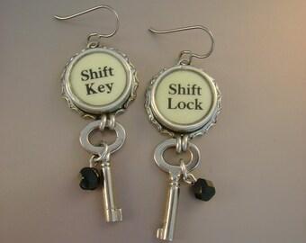 Uncuffed  - Vintage Typewriter Keys Bezels Tiny Silver Handcuff Keys Niobium Wires Recycled Repurposed Jewelry Earrings