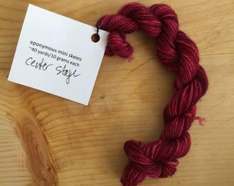 Center stage - eponymous sock yarn, fingering weight yarn mini skein