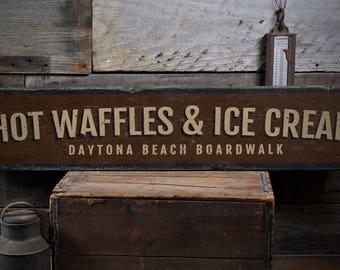 Hot Waffles & Ice Cream Sign, Beach Boardwalk Decor, Boardwalk Food Sign, Custom Wood Sign, Rustic HandMade Vintage Wooden Sign ENS1001839
