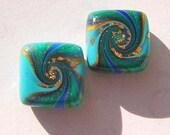 Peacock Swirled Square Handmade Artisan Polymer Clay Bead Pair
