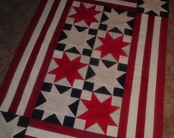 Quilt Top to Finish Patriotic Stars Red White BLue  40 x 60 inches