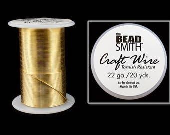 22 Gauge Gold Beadsmith Craft Wire (20 Yards)  #WRH104