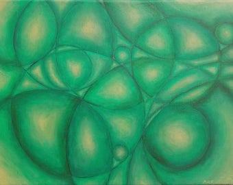 "Verdant Green Abstract with Circles Original Acrylic Painting 11"" x 14"""