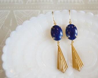 Blue lapis vintage stone dangle earrings- brass fan accent