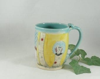 Ceramic Handmade Coffee cup , Ceramic Mug, 18 ounce size, large tea cup, Cappuccino Mug, Latte Cup, artistic cup, Unique Coffee Mugs 742