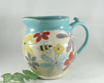 Large Ceramic Pitcher with Flowers and Bees; Creamer, Jar for Iced Tea, Milk Jug, Ewer, Ceramic Pouring Vessel, Kitchen Vase, Carafe,