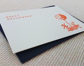 Letterpress Enclosure Card - Halloween Kids