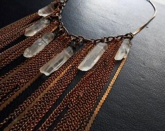 comet - brass fringe necklace tassel necklaces brass chain necklace crystal necklace crystal bib necklace crystal statement necklace