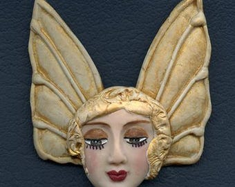 Polymer Clay Detailed Face with Double Golden Wings Art Nouveau NANG 3