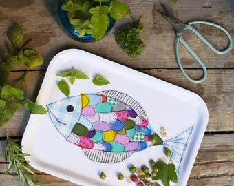 Fishy - small tray with applique print