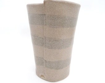 Handbuilt Brown Striped Ceramic Tumbler, Drinkware, Barware, Coffee Cup, Slab Built, OOAK Cup, Thick Glaze, Mix and Match, Stoneware