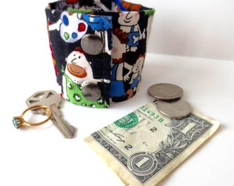 Money Wrist Cuff - Secret Stash- Cavemen- hide your cash, jewels, house key etc in a hidden inside zipper