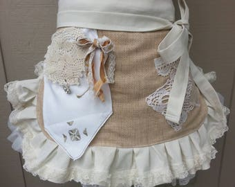 Womens Aprons - Bohemian Aprons - Rustic Lace Aprons - Shabby Chic Aprons - Cottage Chic Aprons - BoHo Wedding Aprons - Annies Attic Aprons