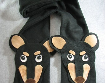 Fleece Miniature Pinscher Head Scarf in Black Ready To Ship