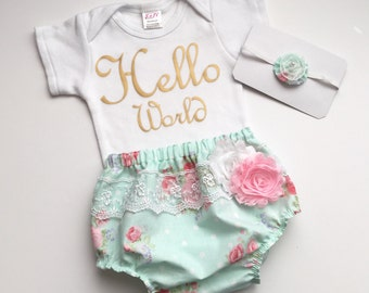 Shabby chic newborn diaper cover, HELLO WORLD onesie outfit, and headband gift set- New baby -- hospital outfit.. baby girls clothing