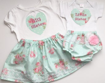 Matching SISTER Outfits ..big sister--- little sister--- shabby chic ... New baby... Coming home outfit