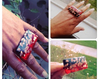 Big and Bold Double Finger Ring - Bronze Flakes red and black - Dichoric glass Jewelry Art - knuckle ring - Mothers Day