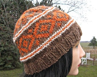 Hand Knit Hat, Fair Isle Beanie, Alpaca Hat for Men or Women, Wool Winter Hat, Fathers Day Gift