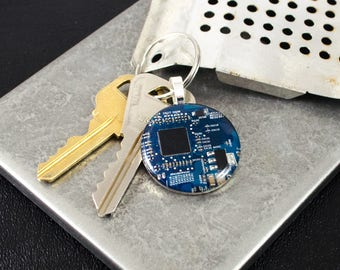 Circuit Board Keychain Blue, Geeky Gift, Recycled Computer Key Fob, Wearable Technology, Industrial Chic, Engineer Technology Gift