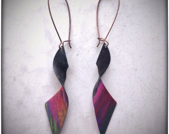 Hand Painted and Oxidized brass earrings with lead and nickel free antiqued copper medium length kidney ear wires