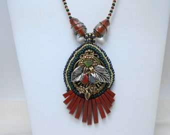 Punky Bead Embroicdered Pendant of deep green and red jasper rust with Vintage Lampwork beads