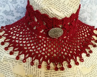 Maroon Steampunk Victorian Noir Gothic  Wiccan Cosplay Wedding Lace Beaded Crochet Choker