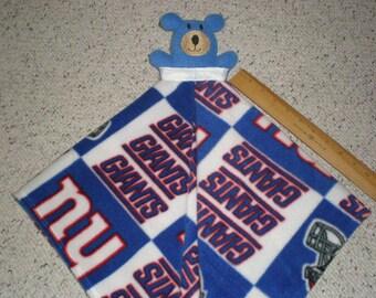 New York Giants Fleece Teddy Bear Baby Security Lovey Blanket